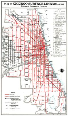 Map showing the surface lines of Chicago's public transport grid in 1938