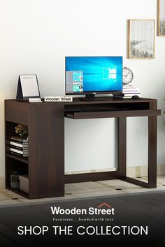 Alkin office table with edgy design reflects the modular design. This unit is equipped with a keyboard tray below the table-top and a deep closed cabinet on the top. Two open shelves by the side of the table enhance storage capacity. Crafted from premium solid-wood, this table is enriched with a classy and trendy look. Study Tables, Teen Desk, Study Table Designs, Wooden Street, Office Table, Modular Design, Open Shelves, Living Room Furniture, Keyboard