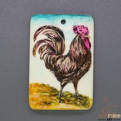 Etched  Scrimshaw Pendant  Carved Hand Painted Rooster Stamp ZL201360 #ZL #Pendant