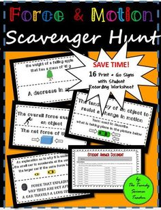 Force and Motion Scavenger hunt for middle and high school students! An engaging activity to review motion terms such as speed, velocity, acceleration, Newton's laws, inertia, balanced/unbalanced forces, net force, and much more!