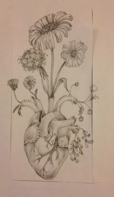 #drawing #cuore #pencil #heart #flowers