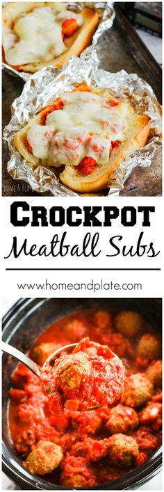 Crockpot Turkey Meatball Subs | www.homeandplate.com | Put your slow cooker to work and take the guesswork out of what to serve for dinner by making turkey meatball subs using store-bought turkey meatballs. #SlowCookerSolutions @FarmRichSnacks