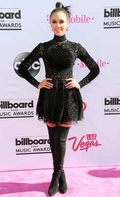 Billboard Music Awards 2016: All the Best and the Boldest Looks from the Red Carpet | People - Jessica Alba in a black lace Zuhair Murad mini dress and thigh-high boots