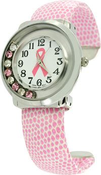 Floating Crystal Pink Ribbon Cuff Watch at The Breast Cancer Site
