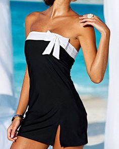 Color Block Bow Tie Embellished Slit Side Design Strapless One-Piece Swimwear For Women