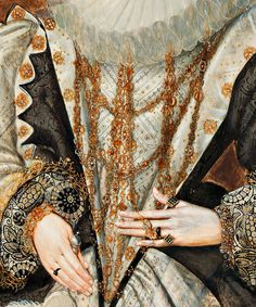 detail of a portrait of a lady circa 1590 by George Gower (Note the transparency of the ruff to see the gold underneath)