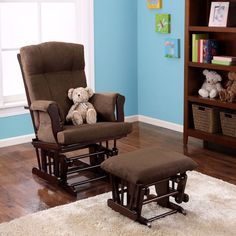 Baby Glider Wood Rocker & Ottoman Chocolate Espresso Rocking Chair Seat Nursery #BabyGliderWoodRocker