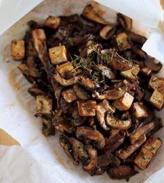 mushrooms and tofu with miso and rosemary #vegan