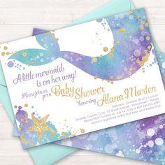 Mermaid Baby Shower Invitation Mermaid Invitation Mermaid