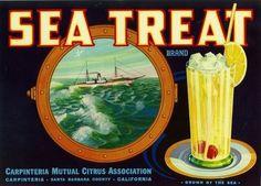 SEA TREAT VINTAGE LEMON CRATE LABEL CARPINTERIA CA ADVERTISING in Collectibles, Advertising, Merchandise & Memorabilia | eBay