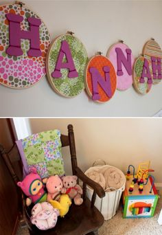 Girls room- name on cross stitch hoops and fabric