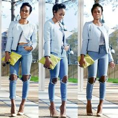 With a little pop of color! #fashion #style #street #skyblue #denim #cutout #heels #yellow #model
