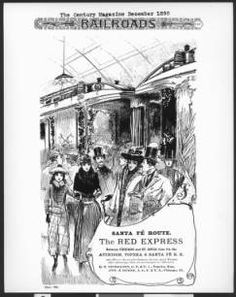 Drawing advertising Santa Fe Railway travel, depicting passengers on the platform, December 1890 :: California Historical Society Collection, 1860-1960