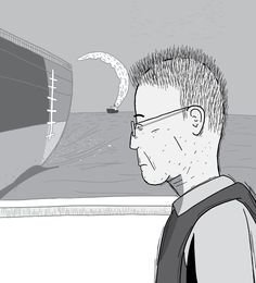 Profile view of cartoon man wearing glasses with contemplative look on face. Geologist M. King Hubbert wearing a life jacket staring towards distance. Side view of old man's face illustration.  Image from Stuart McMillen's comic Peak Oil (2015), from the book Thermoeconomics (2017).