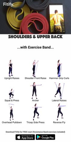 Resistance Band - Shoulders & Upper Back Routine - Kampfkünste - Pilates Resistance Workout, Resistance Band Exercises, Dumbbell Workout, Glute Exercises, Gym Workouts, At Home Workouts, Trx Workouts For Women, Band Workouts, Back Routine