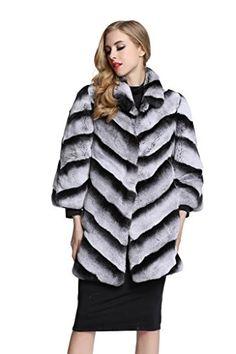 TOPFUR Women's Chinchilla Fur Coat Rabbit Fur Outwear Jacket(US 12)