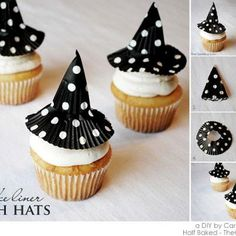 cup-cake halloween. Use one smoothed out paper for the body of the hat, and another with a hole slipped over the body to be the brim!  Could use lots of colors/patterns for the hat
