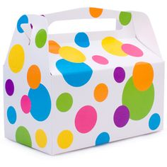 Love the colors on this party favor box. Would make a cute polka dot party theme!