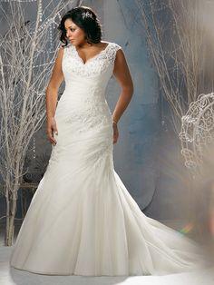 Justo/Coluna Decote em V Cauda Média Tule Sem Mangas Apliques Vestidos de Noiva