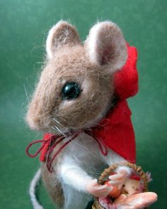Needle Felted Ride Riding Hood Mouse Fairy Tale Andreae   eBay