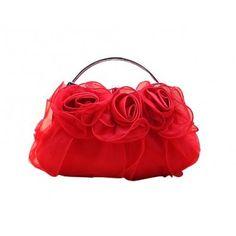 Womens Red Satin Blossom Rose Evening Wedding Clutch Handbag Frame Minaudiere Bag, Gift Idea