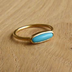 Turquoise Ring - 24k Gold Plated - Gentle Turquoise Ring - Clean Simple. $68.00, via Etsy.