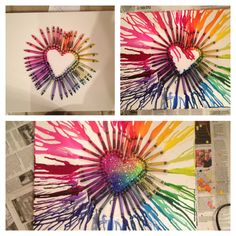Crayon canvas.  Not only is the melted crayon idea awesome, but putting glitter in the middle's even better! #diy #crayon #canvas #heart #color #glitter #crafts