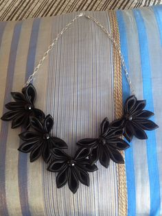 Black Kanzashi necklace