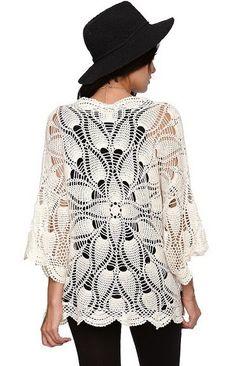 Pinspiration : Outstanding Crochet: Crochet mandala cardigan from Volcom.crochelinhasagulhas: white jacket with crochet in pineappleChal a crochet Crochet Coat, Crochet Shirt, Crochet Jacket, Crochet Cardigan, Love Crochet, Crochet Clothes, Kimono Cardigan, Crochet Designs, Crochet Patterns