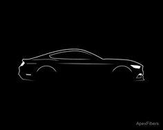 'American Muscle Car Brushstroke' Poster by ApexFibers Car Logo Design, Car Design Sketch, Car Sketch, 2015 Ford Mustang, Mustang Cars, Automotive Logo, Automotive Design, Car Silhouette, Car Tattoos