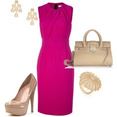 pink shift and nude accessories