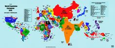 This map depicts the countries of the world in terms of the size of their populations, with each square representing 500,000 people.