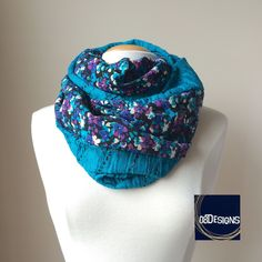 Nursing Cover Scarf, Breastfeeding Top, Teal Black Purple Floral & Lace Infinity Scarf, Double Two Sided Chunky Scarves, Baby Shower Gift by 08Designs on Etsy