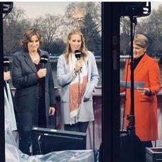 Dame Katherine Grainger, Helen Backshall (nee Glover) and Claire Balding Clare Balding, Katherine Grainger, Claire, Coat, Jackets, Fashion, Down Jackets, Moda, Sewing Coat