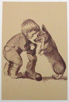 Vintage Tasha Tudor illustration of a boy and his Corgi