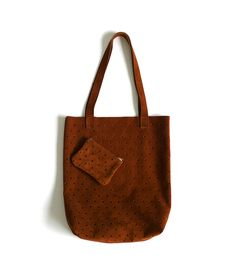 Rust desert suede perforated tote