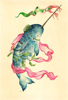 """animalbattle: Narwhal 15 x 22"""" A birthday gift for my friend, lady lion, and fellow illustrator Brooke Weeber."""