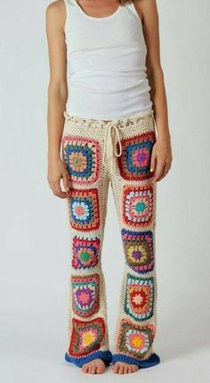 Crochet Pants, Crochet Clothes, Knit Crochet, Crochet Granny, Boho Hippie, Boho Gypsy, Bralette Pattern, Crochet Leg Warmers, Square Pants