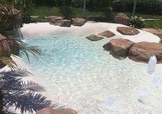 Schwimmteich Backyard pool landscaping 90 Best Swimming Pool Ideas for Small Backyard - Beach Entry Pool, Backyard Beach, Small Backyard Pools, Small Pools, Backyard Pool Designs, Outdoor Pool, Beach Pool, Backyard Ideas, Zero Entry Pool