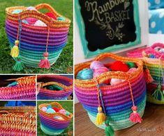 Crochet Rainbow Bakset