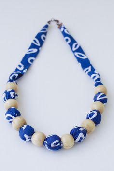 Bubbly Blue Necklace  Batik Indonesia