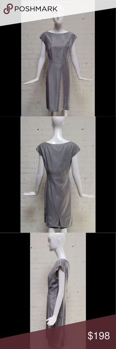 CAROLINA HERRERA Grey Wool Shift Dress Size 14 Grey wool shift dress with hand picked top stitching. Side zip with 3 inverted pleats at back hem. Extended shoulder sleeve. Fabulous condition with no holes, stains or tears.  Size 14. Measurements: Bust-42, Waist-36 Hips-42 CH Carolina Herrera Dresses