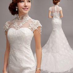 The Princess Bride Fish Tail Word Shoulder Lace Wedding Dress