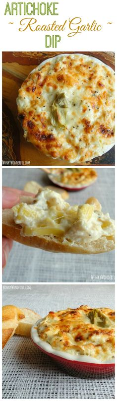 Artichoke Roasted Garlic Dip Recipe - #Appetizer - Cheese - wonkywonderful.com