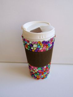 travel mug 16oz multicolored with brown by PreppyInPinkUSA on Etsy