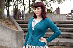 Ravelry: Plain Jane pattern by Andi Satterlund. 19 stitches and 26 rows = 4 inches. Plain Jane is a basic, full-length, v-neck cardigan designed using the information outlined in A Guide to Seamless Set-In Sleeve Sweaters. It's a super simple sweater, but it's the perfect project to read through or knit in order to get a better idea of how the seamless construction method works. It features a body knit in one piece from the top down and short-row sleeve caps.