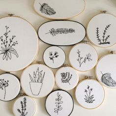 Beautiful, minimalist botanical embroidery from www.etsy.com/shop/freespiritjenny