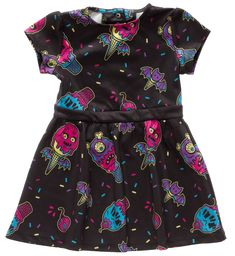 SOURPUSS ICE CREEP CONES KIDS DRESS - Now your little one can join in on the Ice Creep Cones fun! We loved this print so much that we knew we had to make a little version of it! The print features the cutest Ice Creep monsters with batty wings, cyclops and more! This dress has snaps at the back neck so it's super easy to get on and off, and the poly/spandex blend makes it durable, too!