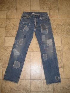 Vintage Levis 501 Button Fly Boot Cut Patchy Trashed Denim Jeans 35 x 36 USA #Levis #BootCut