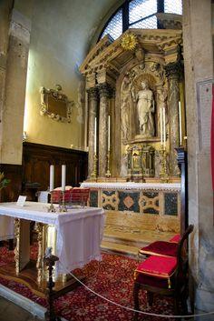 High Altar with Statue of St James (Giacomo) Church of San Giacomo di Rialto Venice Italy